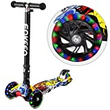 ENKEEO Scooters for Kids, Kick Scooters 3 LED Large Scooter Wheels 3 Level Height Adjustable Handlebar Extra Wide Deck, Kids for Children from 3 to 12 Years Old (Joker)