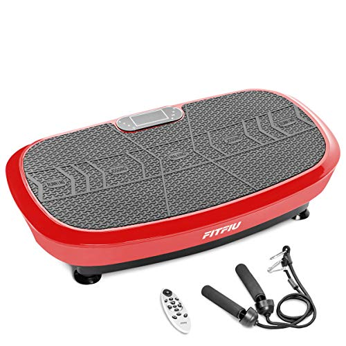 Fitfiu Fitness PV-200 - Plataforma vibratoria fitness con movimiento oscilante 3D, potencia de 1000W, con cuerdas elásticas y base antideslizante, Plataforma de entrenamiento completo, color Rojo
