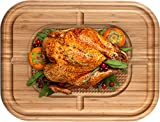 Large Butcher Block Cutting Board - Bamboo Chopping Block for Carving Turkey - Reversible 17 x 13 x 1.5 Inch Wood Serving Tray with Juice Groove and Spikes, Stabilizes Meat While Carving