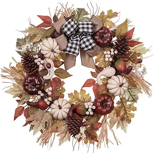 Fall Wreath 24 inch with White & Red Pumpkin, Pine Cone, Berries, Maple Leaves