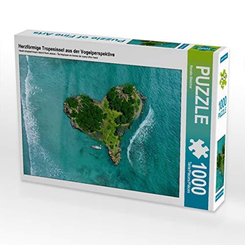 CALVENDO Puzzle Herzförmige Tropeninsel aus der Vogelperspektive 1000 Teile Lege-Größe 64 x 48 cm Foto-Puzzle Bild von Renate Bleicher
