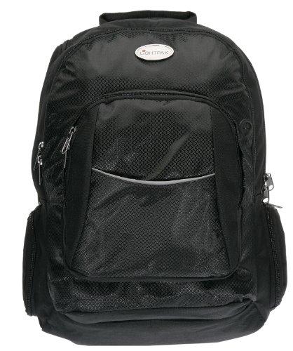 Lightpak 46090 - Business Rucksack ADVANTAGE, Laptoprucksack aus Nylon, Daypack für 17 Zoll Notebook, Notebookrucksack mit integriertem Regenschutz, Bagpack in schwarz, mit Anschluss für Kopfhörer