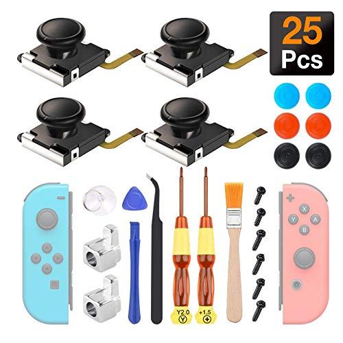 4 Piezas Joystick Analógico 3D, Sendowtek Joysticks de Reemplazo Para Nintendo Switch Joycon y Switch Lite, El Kit de Reparación de Reemplazo de Switch Joycon Incluye Hebilla de...