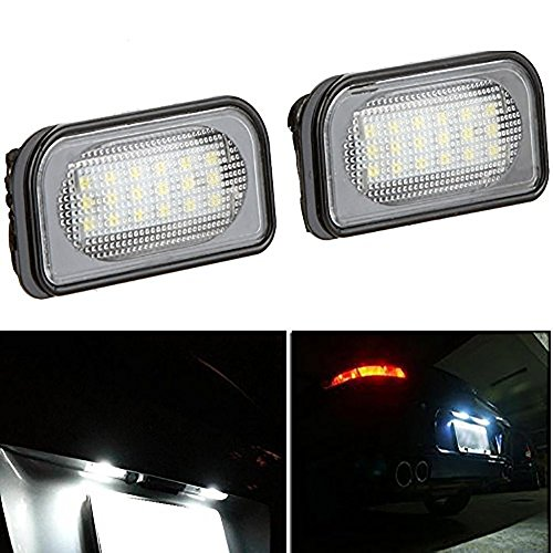 KATUR Lot de 2 ampoules LED 18 3528 SMD Blanc 6000 K pour plaque d'immatriculation arrière pour Benz W203 4D Sedan