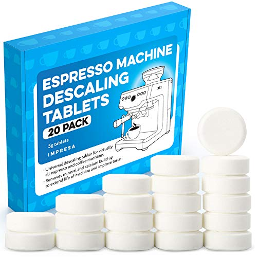 [20 Pack] Espresso Machine Descaler Tablets to Remove Mineral Build Up - Impresa Descaling Tablets intended for Breville, Jura, Miele, and Other Espresso Makers - Descale Espresso Cleaning Tablets