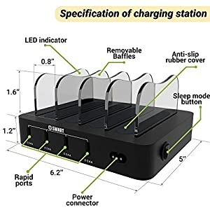 USB Charging Station - Fast Charging Dock - 6-Port - Cell Phone Tablet IPad IPhone Docking Station for Android IOS Devices - Multiple Charging Station - Charger Dock - Multi Charging Station Organizer