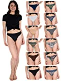 Sexy Basics Women's 12-Pack Active Sport Thong Panties/Buttery Soft Spandex Workout Underwear (12 Pack-Tribal Prints/CORE Solids, XL)