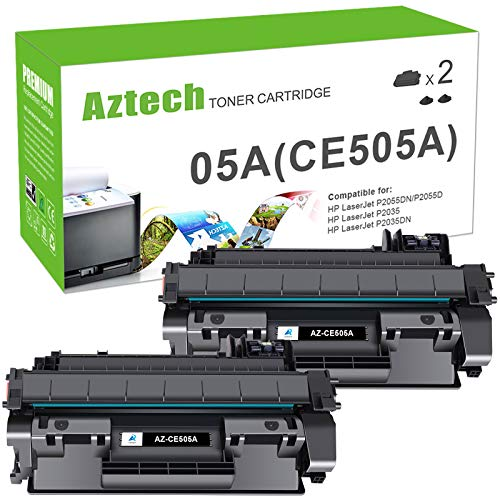 Aztech Compatible Toner Cartridge Replacement for HP CE505A 05A HP Laserjet P2035 P2035N P2055DN P2030 P2050 P2055D P2055X (Black, 2-Pack)