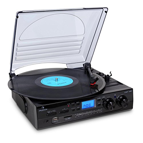 Auna TT-186E Plattenspieler mit integriertem Lautsprecher-System, Hi-Fi (Riemenantrieb, USB, SD, MP3)
