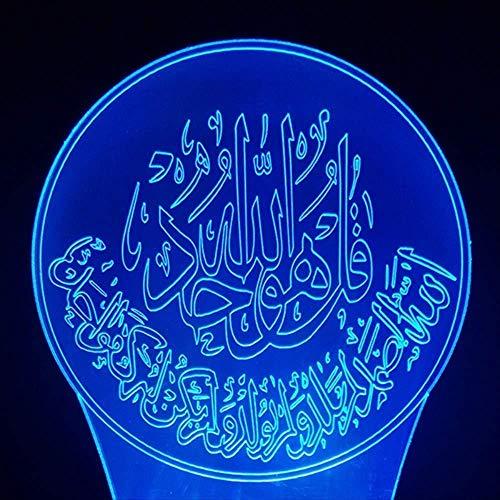 Kerstcadeau voor kinderen, 3D-kerstcadeaus, NightLight 7 kleuren, kleurverandering, tafellamp, bedlampje, bedlampje, nachttafellampje, lamp Muhammad met afstandsbediening