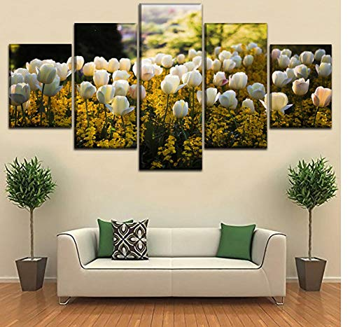 Preisvergleich Produktbild yangwuju Leinwand Gemälde Schöne weiße gelbe Tulpenblume 5 Stück Print HD 3D von Art Panel gestreckt Home Decor hängen Geschenk Kit Holzrahmen Modern Set