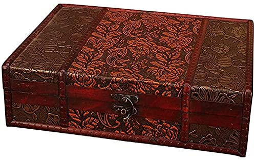 OH Caja de Maleta Caja de Joyería Vintage Caja de Decoración de Alenamiento Retro Caja de Madera Tesoro de Madera Cajas de Recuerdo Cajas Decorativas Seguro y fuerte/B/As pictur