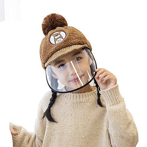Folding Gorra protectora para nariz y boca, antivaho, protección contra rayos UV, visera ancha, gorra de béisbol para niños y niñas (color: marrón)
