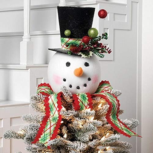 for 14' Plaid Snowman Head/Top Hat Tree Topper~Christmas/Wreath/Tree MAMOLIK Supplier for Home & Garden