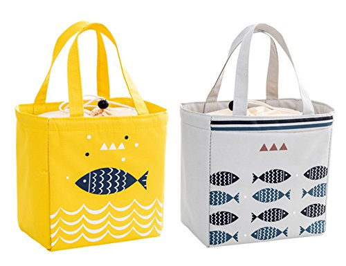 iSuperb - Lot de 2 sacs isotherme étanches pour le déjeuner - grande glacière, lunch bag, pour adultes et enfants - 20 x 20 x 13 cm Giallo e grigio chiaro