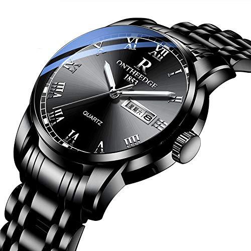Relojes, Reloj de Fecha de Cuarzo para Hombre Reloj de Pulsera clásico con Correa de Acero Inoxidable
