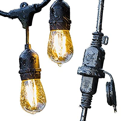 Advanced Outdoor String Lights by Conclarity - Dimmable Edison S14 Style Bulbs - 48 ft Cord, Seamless Design, Commecial Grade Lighting, Weatherproof Technology - 5 Year Warranty
