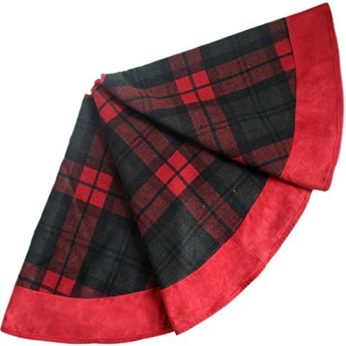SORRENTO 90 CM Plaid Christmas Tree Skirt with Suede Border Red