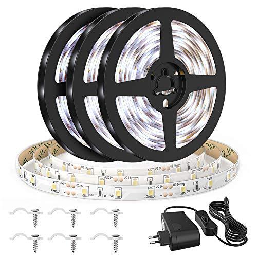 Onforu 15M LED Strip, IP65 Wasserdicht Streifen, 6000K Kaltweiß Band, 12V Flexibel Lichtband mit Schalter, Selbstklebend 2835 450 LEDs Leuchtband Indirekte Beleuchtung für Küche, Schrank, Bett, Balkon