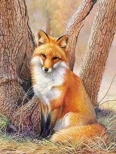 Pintura al óleo por número Fox Animal Dibujo sobre lienzo Pintura por número Paisaje de invierno Regalos pintados a mano A8 40x60cm