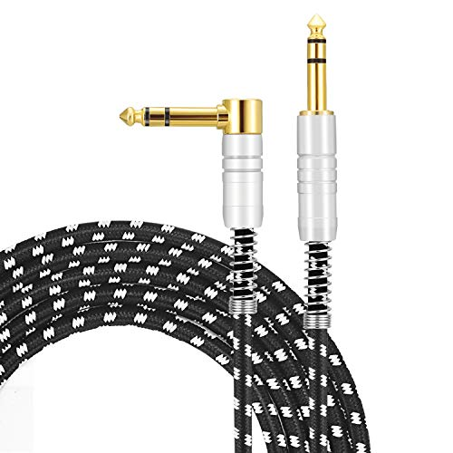 """1/4"""" TRS Cable, Devinal Quarter inch TRS Stereo Balanced Interconnect Cable, Nylon Braided Audio Cord, 6.35mm Male to Male Heavy Duty 10 FT for Powered Speakers, Audio Interface or Mixer"""