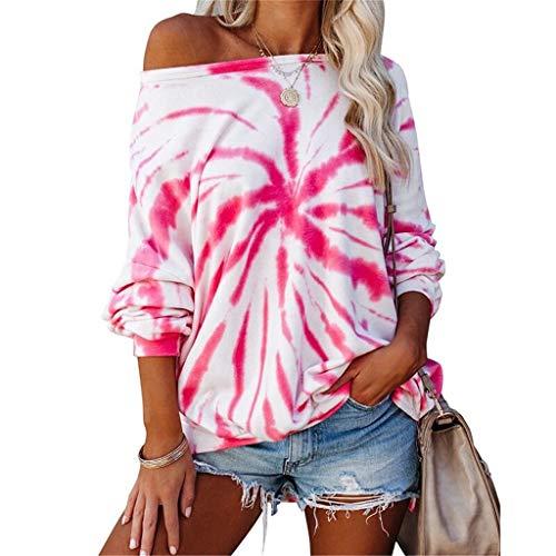 Sudaderas Mujer Sweatshirt Casual Pullover Mujer Tie Dye Sudaderas sin Capucha Cuello Redondo Camiseta Manga Larga Mujer para Primavera Otoño e Invierno