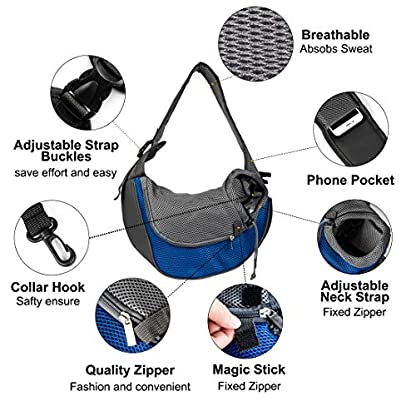 Pet Carrier Hand Free Sling Puppy Carry Bag Small Dog Cat Traverl Carrier with Breathable Mesh Pouch for Outdoor Travel Walking , Pet Supplies (blue) 4