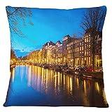 Timingila Azul Lona Fundas de colchón Ámsterdam Vista Nocturna del Canal Living Room Sofa Funda de cojín Printed Home Decor Fundas de Almohada 1 Unids - 22 x 22 Pulgadas