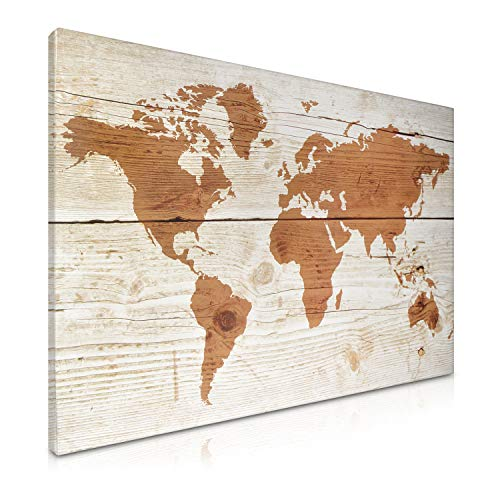 Navaris Magnetic Dry Erase Board - 16 x 24 inches Decorative White Board for Wall with Design, Includes 5 Magnets and Marker - World Map