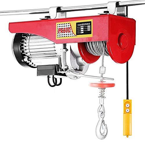 QWERTOUY 1320 LBS Ascensor eléctrico de elevación del polipasto eléctrico de Control Remoto eléctrico del Torno grúa de Arriba Ascensor eléctrico Cable de izada