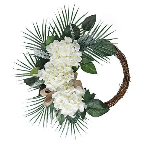 SHACOS Fensterkranz Blumen Dekokranz Holz Kranz Deko Draußen Groß 45cm Naturkranz künstlich Hortensie Kranz Sommer für Hochzeit,Garten, Bauernhaus usw.