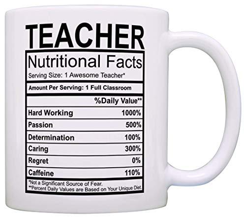 Teacher Nutritional Facts Label Decor - Taza de café y té, color blanco