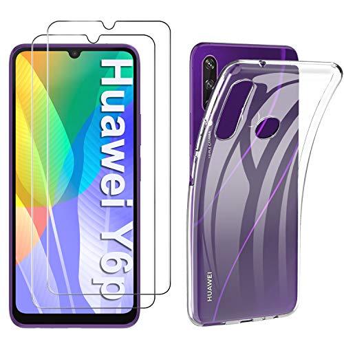 C'iBetter für Huawei Y6P Hülle + Panzerglas (2 Stück), Soft Clear TPU Cover Shock Absorption Anti-Scratch TPU Hülle mit 9H Panzerfolie passt für Huawei Y6P, klar