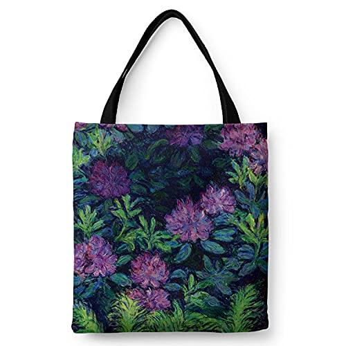 WANGNIU Bolsos de hombro con cremallera de lona ecológica para mujer con bolsillo interior Bolsos reutilizables en caja Antlers -Monet Purple Flower_M