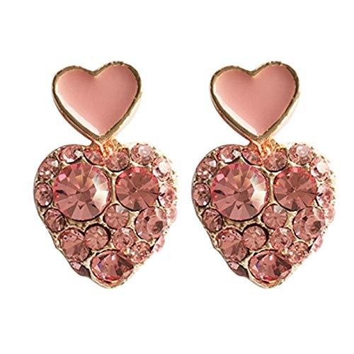 SALAN Fairy Pink Pink En Forma De Corazón Clip En Pendientes Sin Agujero Color De Oro Rosa Color Completo Rhinestone Clip De Corazón En Pendientes Sin Piercing Mujeres