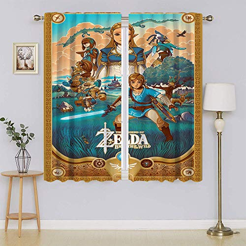 lacencn The Legend of Zelda Breath of The Wild Window Curtain Panels Heat and Full Light Blocking Drapes Keep Warm Draperies, Sliding Door Drapes for Bedroom/Living Room W52 x L63