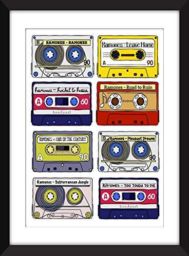 Ramones Albums Artwork - Unframed Retro Cassette Print - Ideal Gift for Ramones Fan/Ungerahmter Druck