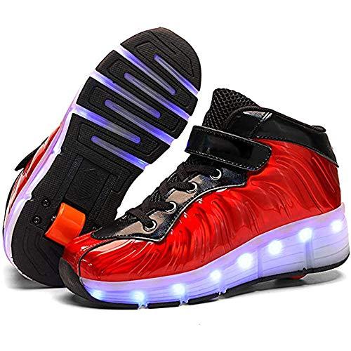 YAWJ Zapatos Multiusos 2 En 1 Patines Zapatillas Quad Roller Polea Los Patines Hielo para El Adulto Deportes Al Aire Libre De Deporte Rodillo Shoes Sneakers (Color : Red Single Wheel, Size : 37)