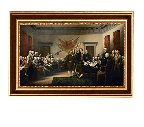 Eliteart-The Declaration of Independence by John Trumbull Oil Painting Reproduction Giclee Wall Art Canvas Prints-Framed Size:25