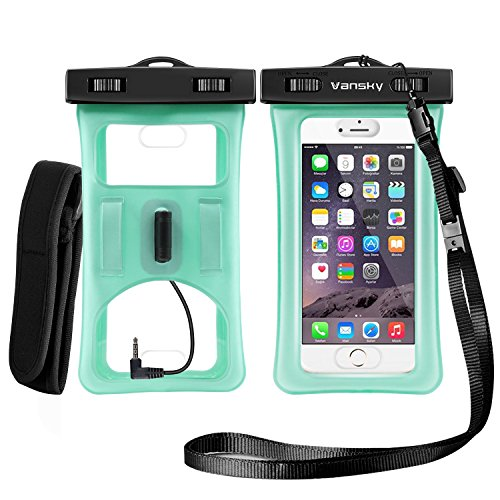 Vansky Floatable Waterproof Case, Waterproof Phone Case Dry Bag with Armband and Audio Jack for iPhone 8/8Plus, 7/7 Plus, Galaxy/Google Pixel/LG/HTC, Eco-Friendly TPU Construction IPX8 Certified