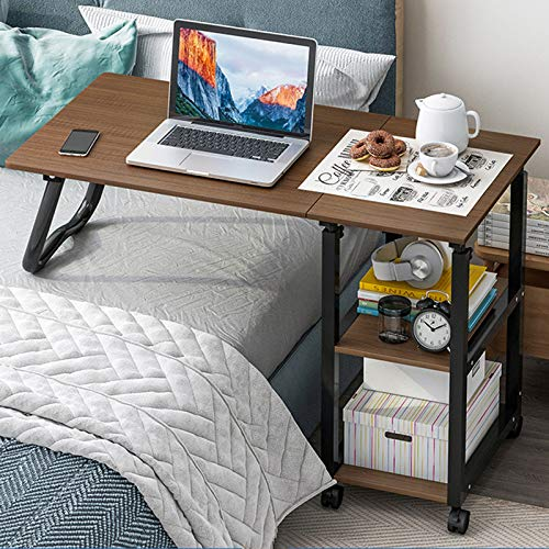 XIALIUXIA Tavolino per PC con Rotelle, Scrivania per Computer Regolabile, Design Moderno Postazioni di Lavoro per Computer Ruote Over Bed Table Divano Ufficio A Casa,E