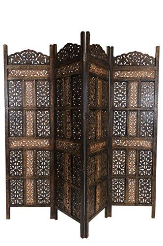 Orientalischer Paravent Raumteiler aus Holz Krishna 200 x 180cm hoch in Braun | Indischer Trennwand als Raumtrenner oder Dekoration im Zimmer oder Sichtschutz im Garten, Terrasse oder Balkon