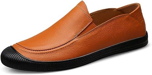 Ruiyue Chaussures de Conduite Classiques, Chaussures en Cuir véritable à Semelle Souple et à Semelle Plate évitant Les collisions, Chaussures de Sport (Couleur   Marron, Taille   42 EU)