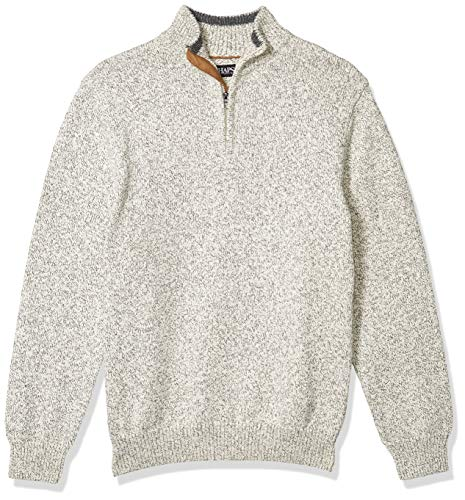 Chaps Men's Classic Fit Textured Quarter Zip Sweater, Cream Twist, M