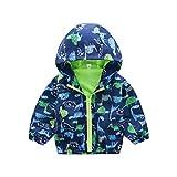 Styledress Jungen Kapuzenjacke mit Dinosaurier-Druckmuster, Baby-Jungen jacken, Windjacke, Mantel, Sweatjacke, warm, Herbst und Winter 1-6 Jahre