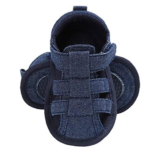 Baby Jongens Sandals Anti-Slip Soft Canvas gesloten teen eerste wandeldag Summer Outdoor Schoenen voor 3-18m peuters Blue