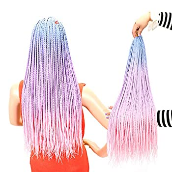 Box Braid Crochet Hair 24 Inch Crochet Box Braids Pre Looped 24 Strands/6Packs 100g/Pack High Temperature Fiber Box Braids Hair Extensions  Blue-Purple-Pink  Handmade