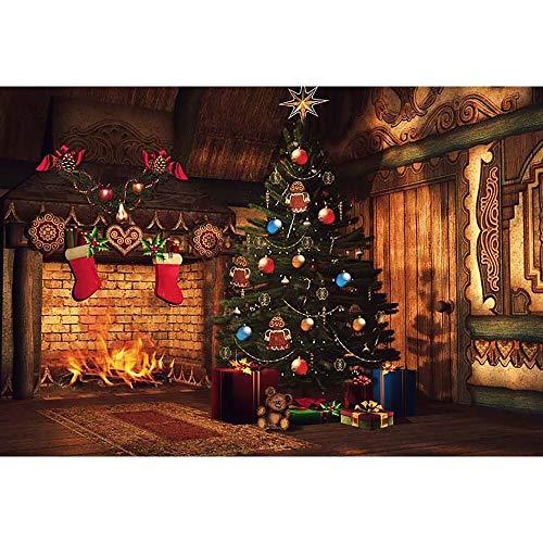 Fondos de Navidad para Fiestas Familiares, Invierno, Nieve, árbol, Santa, Piso de Madera, Fondos para niños, sesión fotográfica para Estudio fotográfico A20
