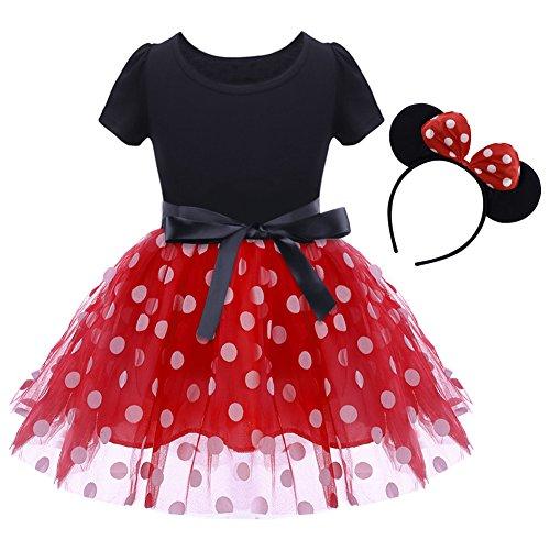 Baby Girls' Polka Dots Leotard Christmas Birthday Fancy Dance Costume Cosplay Tutu Dress Up with 3D Ears Headband Red 18-24 Months