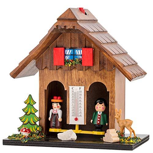 TFA Dostmann Wetterhäuschen Wetterhaus aus Echtholz, Braun 48.1503.08, L170 x B178 x H115 mm